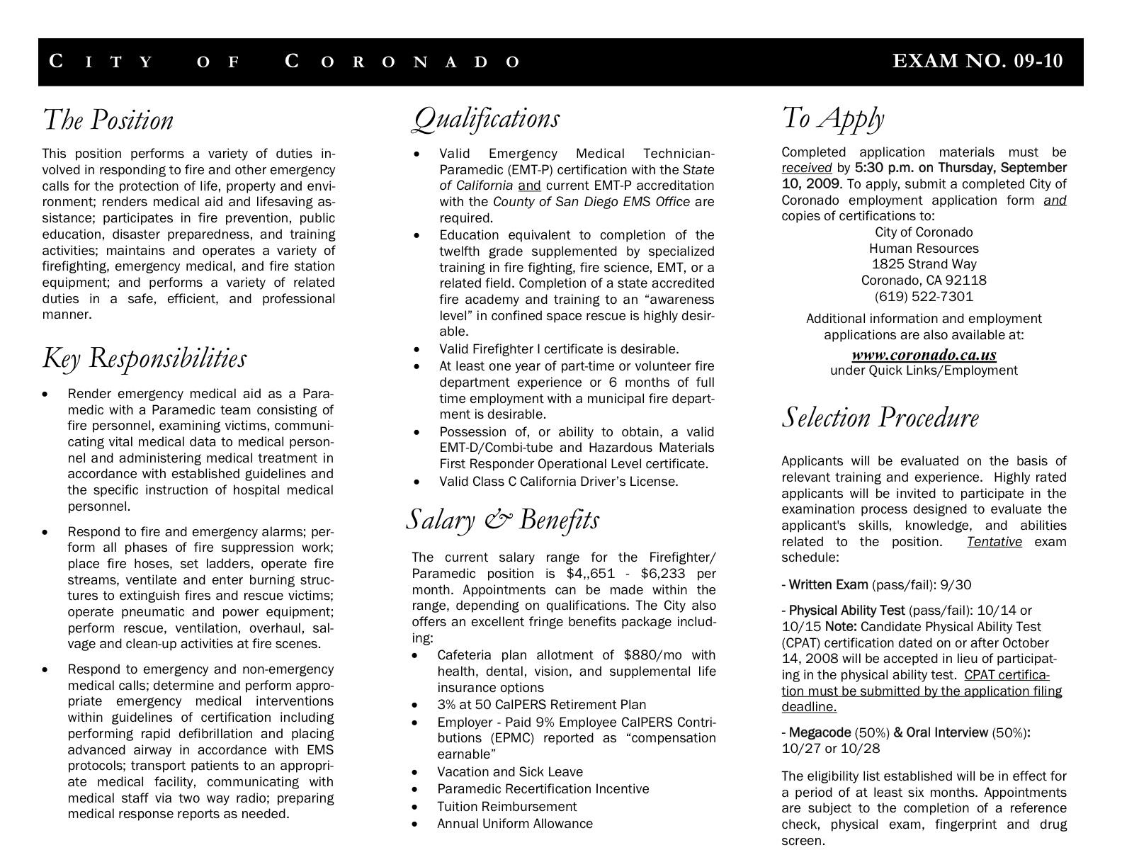 Opening For Firefighterparamedic Position Coronado Common Sense