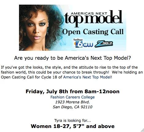 America S Next Top Model Casting Call At 8am Today Coronado Common